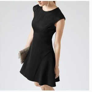 Reiss Skala Fit and Flare Textured Black Dress 4